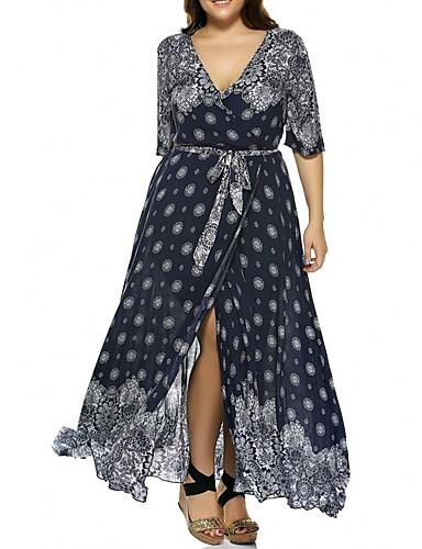 voordelige Grote maten jurken-Dames Boho Trompet / zeemeermin Jurk - Polka dot, Veters Maxi