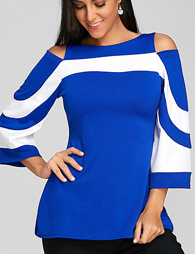 billige T-skjorter til damer-Tynn Båthals Store størrelser Bluse Dame - Fargeblokk Vintage Svart / Vår / Høst