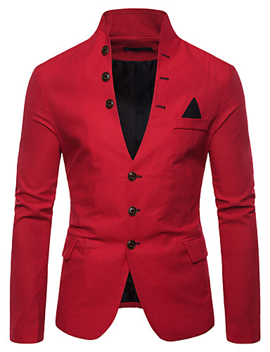 cheap Men's Outerwear-Men's Blazer, Solid Colored Stand Cotton / Polyester Black / White / Red / Slim