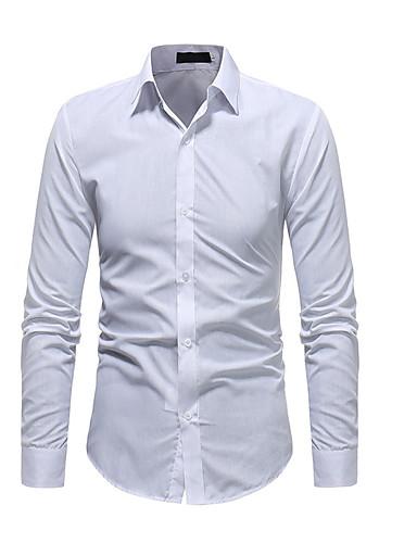 levne Pánské košile-Pánské - Jednobarevné Košile Bílá