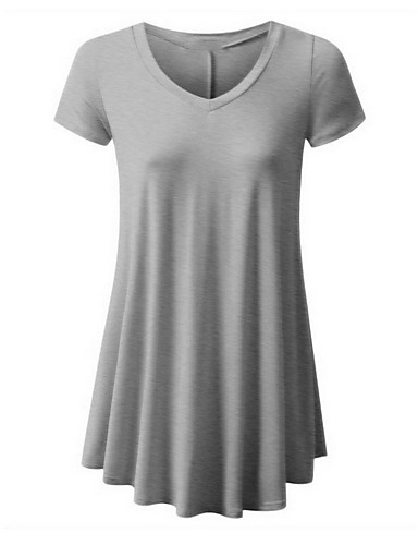 billige Dametopper-Bomull V-hals T-skjorte Dame - Ensfarget, Lapper Vin