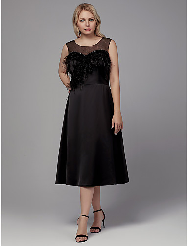 727ab62c84 Plus Size A-Line Jewel Neck Tea Length Stretch Satin Cocktail Party Dress  with Feathers   Fur by TS Couture® 7104172 2019 –  99.99