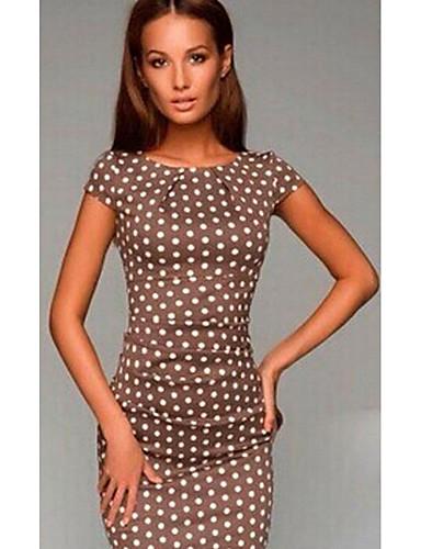 preiswerte Sommerkleider-Damen Grundlegend Hülle Kleid - Druck, Punkt Knielang