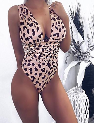 billige Bikinier og damemote-Dame Rosa Oransje Gul En del Badetøy - Leopard S M L Rosa