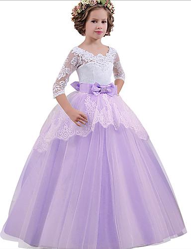 levne Krásné šaty-Princess Long Length Šaty pro květinovou družičku - Krajka / Tyl Poloviční rukáv Klenot s Mašle / Křišťály / Krajka podle LAN TING Express