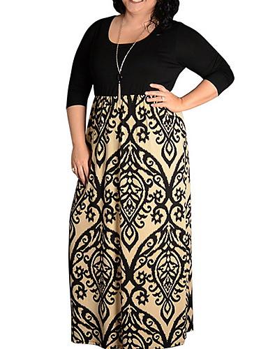 levne Maxi šaty-Dámské Větší velikosti Základní Volné A Line Šaty - Geometrický Maxi Do U