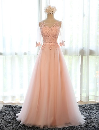 cheap Wedding Dresses-A-Line Illusion Neck Sweep / Brush Train Tulle Floral / Pink Prom / Formal Evening Dress with Appliques 2020