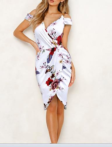 Жен. Тонкие Облегающий силуэт Платье V-образный вырез До колена