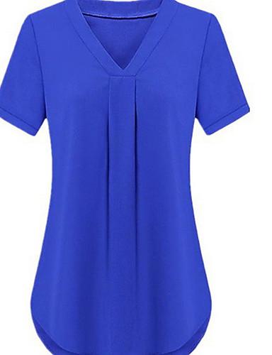 billige Skjorter til damer-Tynn Store størrelser Skjorte Dame - Ensfarget Svart