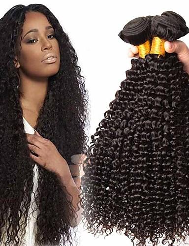 halpa Aitohius irtohiukset-4 pakettia Hiuskudokset Brasilialainen Kinky Curly Hiukset Extensions Remy-hius 100% Remy Hair Weave -paketit 400 g Hiukset kutoo Aitohiuspidennykset 8-28 inch Luonnollinen väri Luonto musta Shedding