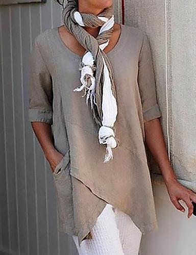 povoljno Majica s rukavima-Majica s rukavima Žene Jednobojni Ogroman Djetelina