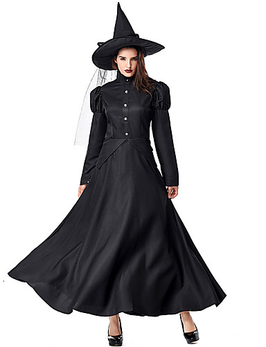 cheap Kids Halloween Costumes-Witch Dress Cosplay Costume Hat Kid's Adults' Women's Dresses Vacation Dress Halloween Halloween Carnival Masquerade Festival / Holiday Tulle Polyster Black Women's Easy Carnival Costumes Solid