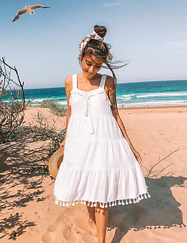 preiswerte Kleider für die Ferien-Damen Elegant A-Linie Kleid Knielang Gurt