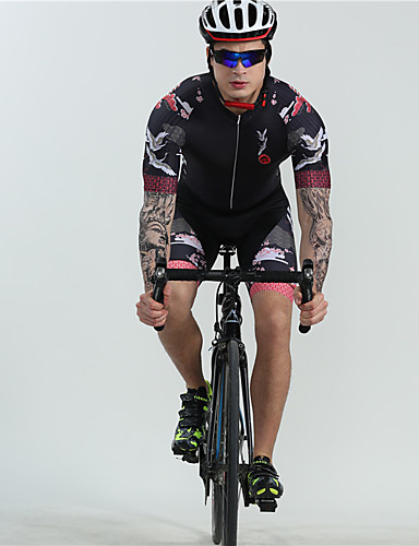 cheap Cycling-BOESTALK Men's Short Sleeve Cycling Jersey with Shorts Triathlon Tri Suit One Piece Swimsuit Spandex Black Animal Floral Botanical Bike Breathable Quick Dry Back Pocket Sports Animal Mountain Bike