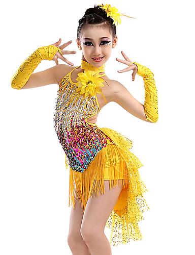 cheap Latin Dancewear-Latin Dance Kids' Dancewear Hair Jewelry Criss Cross Tassel Tiered Girls' Training Performance Sleeveless Nylon Sequined