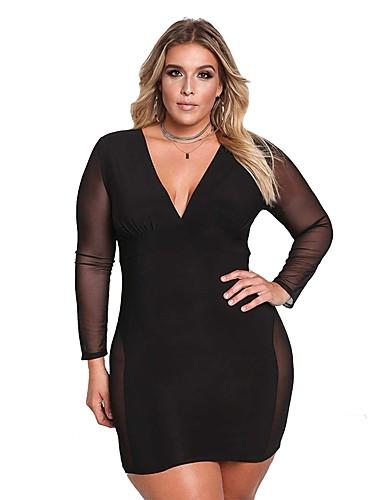 levne Šaty velkých velikostí-Dámské Bodycon Šaty - Jednobarevné, Síťka Patchwork Mini