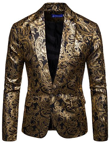 สำหรับผู้ชาย เสื้อคลุมสุภาพ, รูปเรขาคณิต ปกคอแบะของเสื้อแบบพึค ไหมสังเคราะห์ / เส้นใยสังเคราะห์ สีดำ / ทับทิม / สีน้ำเงินกรมท่า