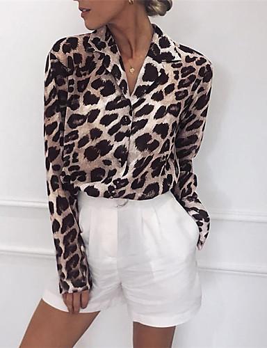 billige Topper til damer-Bomull Skjortekrage Bluse Dame - Leopard, Lapper Gatemote Svart og hvit / Svart og Grå Lysebrun
