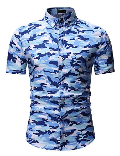 voordelige Herenoverhemden-Heren Actief / Standaard Overhemd Katoen camouflage Klassieke boord blauw / Korte mouw / Zomer