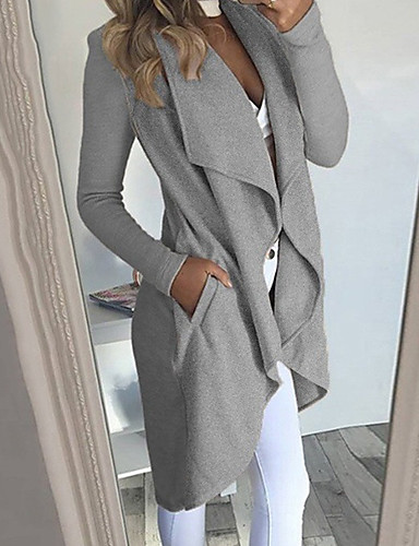 cheap Women's Clothing-Women's Daily Spring & Fall Long Trench Coat, Solid Colored Shirt Collar Long Sleeve Polyester Manteau Femme Wine / Army Green / Khaki XXXL / XXXXL / XXXXXL