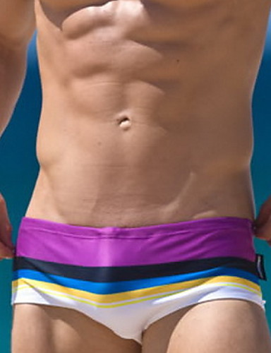 levne Pánské prádlo a plavky-Pánské Světlá růžová Fialová Světle modrá Odvážné Kalhotky Plavky - Duhová M L XL Světlá růžová