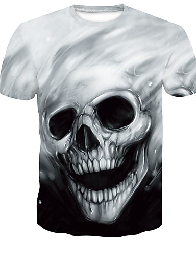 cheap Men's Tees & Tank Tops-Men's Plus Size T-shirt Graphic Skull Tops Round Neck Black