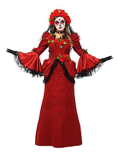 preiswerte Herrenbekleidung-Geist Cosplay Kostüme Erwachsene Weiblich Cosplay Halloween Halloween Karneval Maskerade Fest / Feiertage Rote Weiblich Karneval Kostüme Patchwork