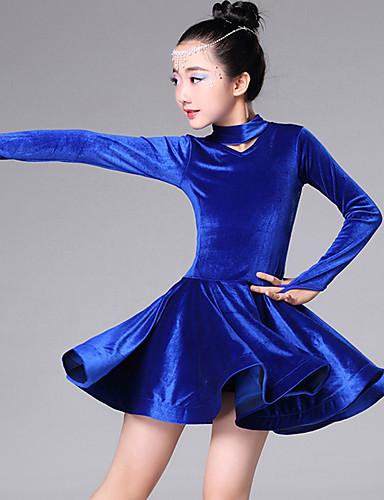 preiswerte Hochzeiten & Feste-Latein-Tanz / Tanzkleidung für Kinder Kleider Mädchen Training / Leistung Plüsch Kaskaden Rüschen Langarm Kleid