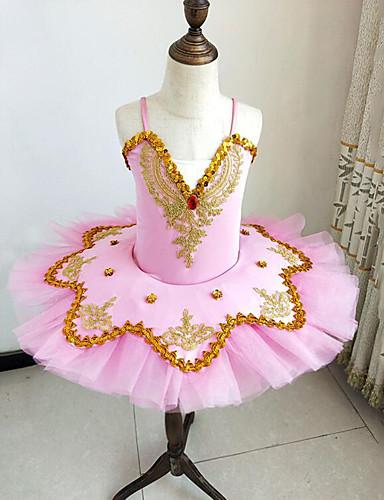 levne Shall We®-Dětské taneční kostýmy / Balet Úbory / tutu a sukně Dívčí Trénink / Výkon Polyester / Síťka Korálky / Výšivka / Rozdělení Bez rukávů Šaty / Náramky