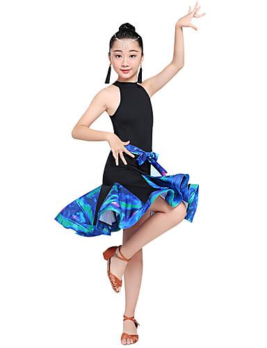 levne Shall We®-Latinské tance / Dětské taneční kostýmy Šaty Dívčí Výkon Spandex Sklady / Rozdělení Bez rukávů Vysoký Šaty