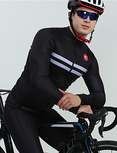 povoljno Odjeća za vožnju biciklom-BOESTALK Muškarci Dugih rukava Biciklistička majica s tregericama Biciklistička majica Crn Ljubičasta Dungi Bicikl Ugrijati Prozračnost Povratak džep Zima Sportski Runo Dungi Brdski biciklizam