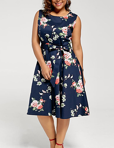 [$19.79] Women\'s Kentucky Derby Plus Size Going out A Line Dress - Floral  Print Summer White Blue S M L XL