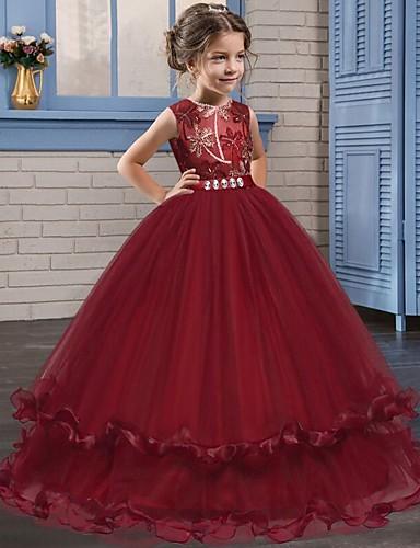 levne Krásné šaty-Princess Long Length Šaty pro květinovou družičku - Krajka / Tyl Bez rukávů Klenot s Křišťály / Výšivka podle LAN TING Express