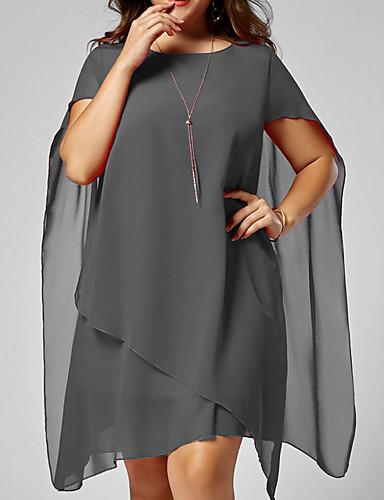 voordelige Grote maten jurken-Dames Slank Wijd uitlopend Overhemd Jurk Tot de knie