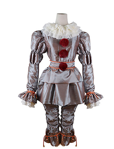 cheap Halloween & Carnival Costumes-Burlesque Clown Pennywise Cosplay Costume Outfits Adults' Men's Cosplay Halloween Halloween Carnival Masquerade Festival / Holiday Polyster Silver Men's Women's Carnival Costumes Solid Colored / Top