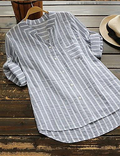 billige Skjorter til damer-V-hals Skjorte Dame - Stripet Lyseblå