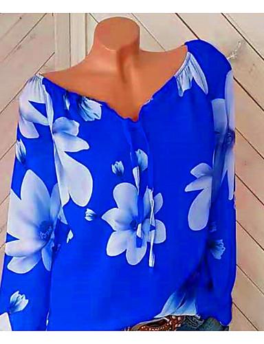 billige Dametopper-V-hals Store størrelser Skjorte Dame - Blomstret, Blomster / Trykt mønster / Løse skuldre Ferie Svart / Vår / Sommer