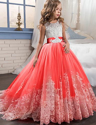 levne Krásné šaty-Princess Dlouhá vlečka / Long Length Šaty pro květinovou družičku - Krajka / Tyl Bez rukávů Klenot s Aplikace / Pásek podle LAN TING Express