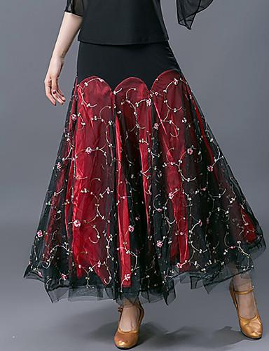 cheap Ballroom Dancewear-Ballroom Dance Skirts Ruching Split Joint Women's Training Performance High Mesh Polyester
