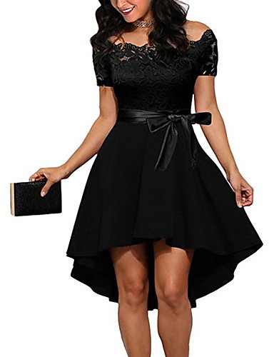 cheap Little Black Dresses-Women's A-Line Dress Short Mini Dress - Short Sleeve Dusty Rose Solid Colored Plus High Low Clothing Off Shoulder Hot Sexy Going out Slim White Blushing Pink Wine Navy Blue S M L XL XXL