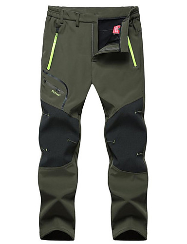 cheap Hiking Trousers & Shorts-Men's Hiking Pants Softshell Pants Solid Color Winter Outdoor Windproof Fleece Lining Breathable Rain Waterproof Softshell Pants / Trousers Bottoms Dark Grey Black Army Green Camping / Hiking Hunting