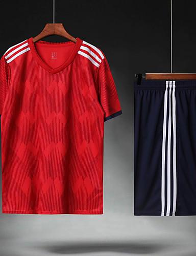 preiswerte Fußball-Hemden und Shorts-Herrn Fußball Fußballtrikot und Shorts Sportkleidung Atmungsaktiv Schweißableitend Teamsport Aktives Training American Football Streifen Polyester Erwachsene Rot