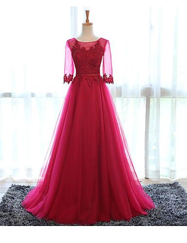 preiswerte Durchsichtige Kleider-A-Linie Schmuck Boden-Länge Tüll Formeller Abend Kleid mit Applikationen durch LAN TING Express