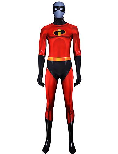 billige Zentai-Zentai Drakter Drakter Superman Ninja Voksne Lycra® Cosplay-kostymer Halloween Herre Rød Fargeblokk Halloween Karneval Maskerade