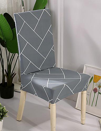 preiswerte Schlafzimmer-Schonbezüge Stuhlbezug Reaktivdruck Polyester / Grau & Weiß / Stylisch Geometrisch / Linienmuster