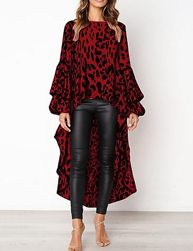 preiswerte Top taglie forti da Donna-Damen Leopard Bluse Braun