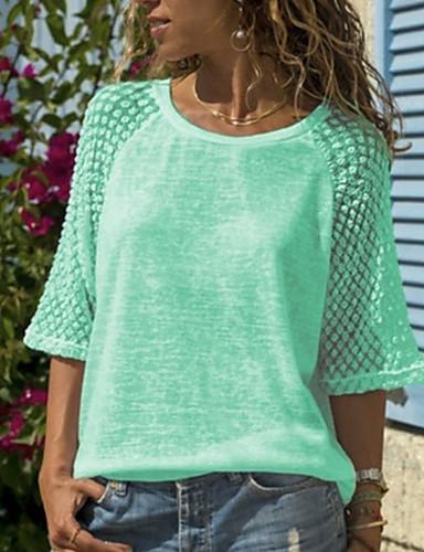 billige Dametopper-Store størrelser T-skjorte Dame - Ensfarget, Blonde / Lapper Hvit
