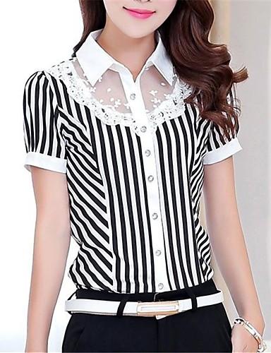 billige Skjorter til damer-Tynn Skjortekrage Skjorte Dame - Stripet, Blonde Hvit