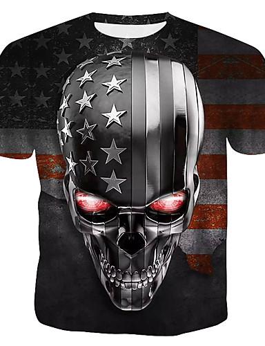 cheap Men's Tees & Tank Tops-Men's T-shirt 3D Graphic Skull Print Short Sleeve Tops Round Neck Rainbow