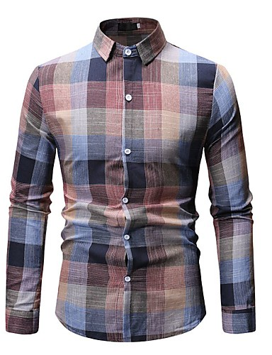 Homens Camisa Social Básico Estampado, Geométrica Rosa